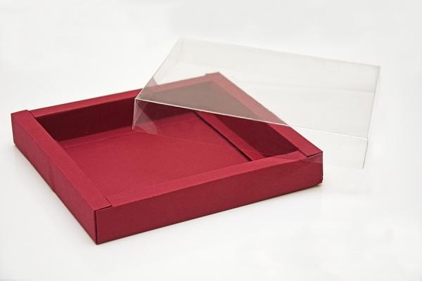Scatola per Pasticceria premontata in cartoncino con comperchio in PVC, 13x10x3